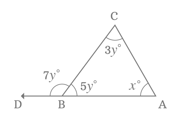triangle with interior and exterior angles