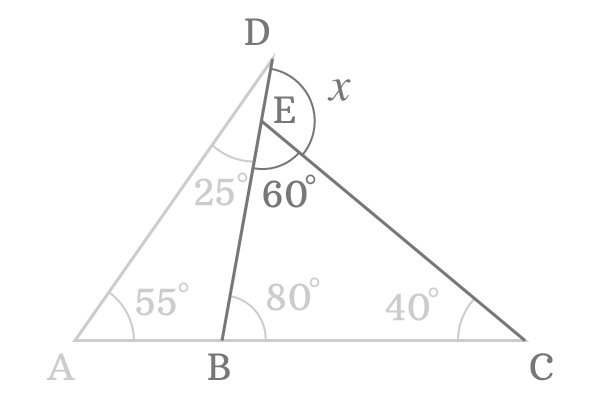 common externor angle of the triangles