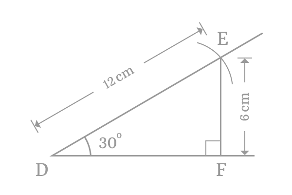 right angled triangle with 30 degrees angle