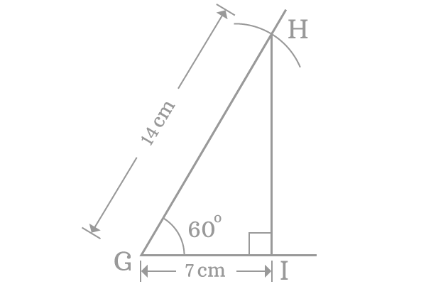 right angled triangle with 60 degrees angle