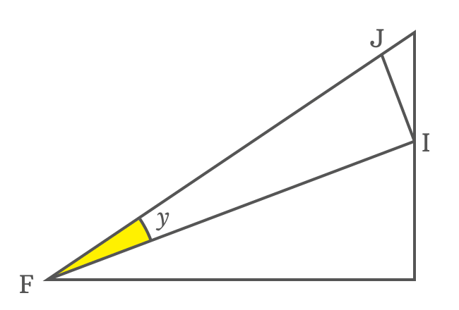 right triangle to express side as cot function