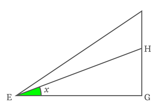 right triangle to express side as tan function