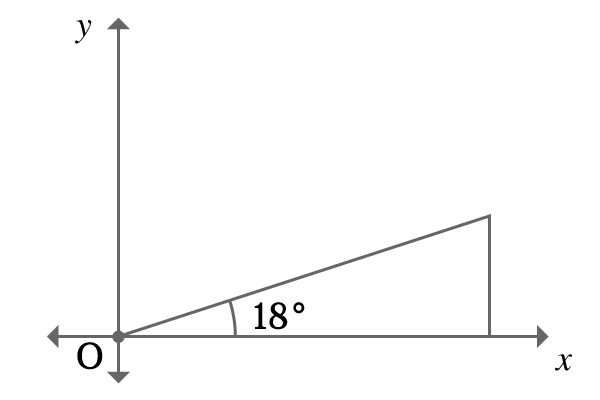 right angled triangle with 18 degrees in first quadrant