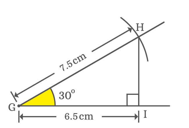 Measuring adjacent side of right triangle when angle is 30 degrees