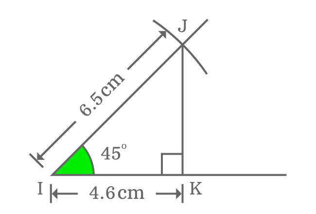 Measuring adjacent side of right triangle when angle is 45 degrees