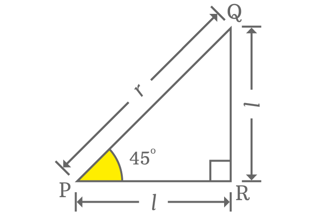 right triangle with 45 degrees angle
