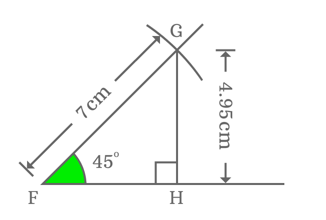 Measuring opposite side of right triangle when angle is 45 degrees