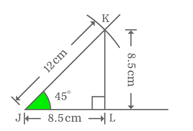 Measuring opposite and adjacent sides of right triangle when angle is 45 degrees