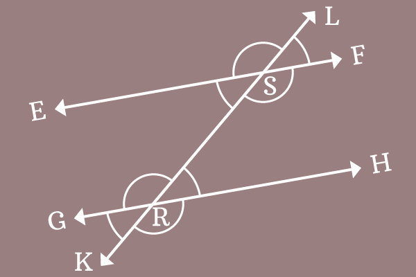 example to prove equality of corresponding angles of parallel lines transversal
