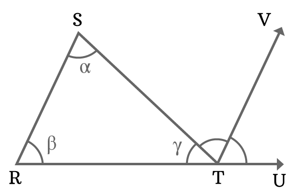Triangle to prove summation of angles is 180 degrees