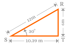 Right angled triangle to calculate sine values