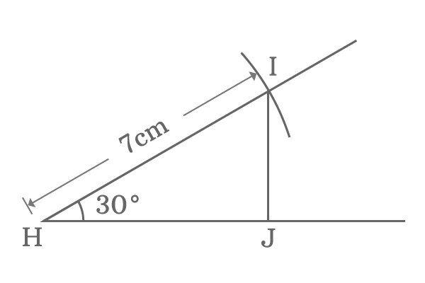 Right angled triangle of 30 degrees angle and 7 centimeters length hypotenuse
