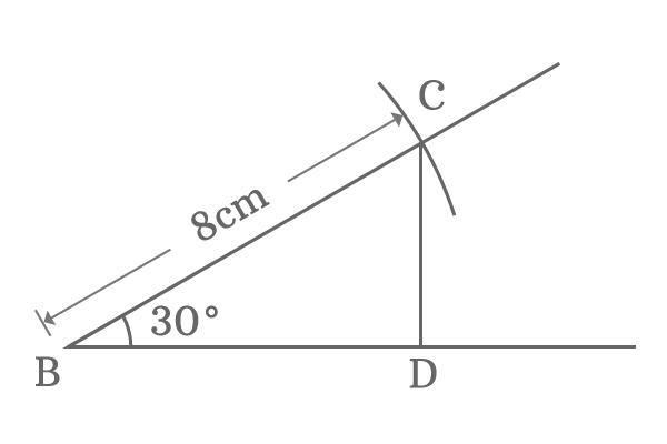 Right angled triangle of 30 degrees angle and 8 centimeters length hypotenuse