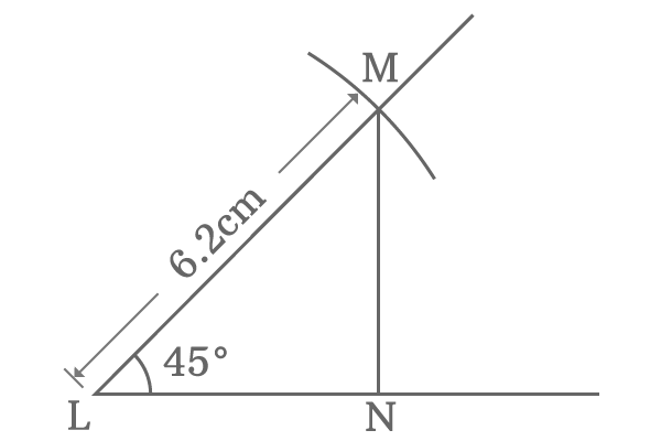 right angled triangle with 45 degrees angle and 6.2 cm hypotenuse
