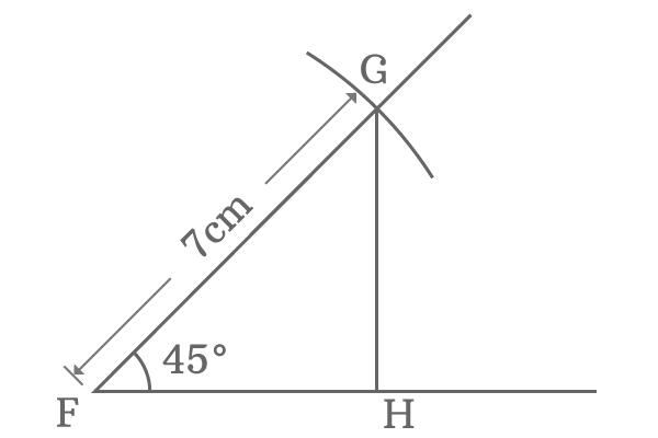 right angled triangle with 45 degrees angle