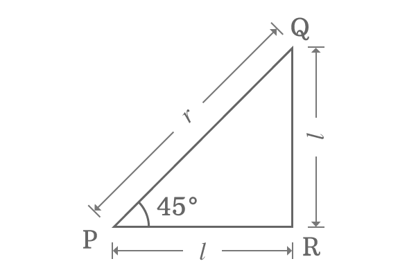 right angled triangle with 45 degrees angle and equal sides