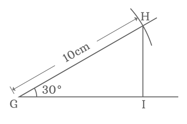 right angled triangle with 30 degrees angle and 10 cm hypotenuse