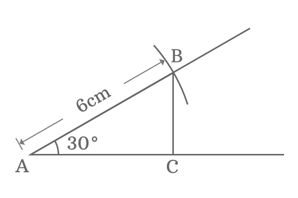 right angled triangle with 30 degrees angle and 6 cm hypotenuse