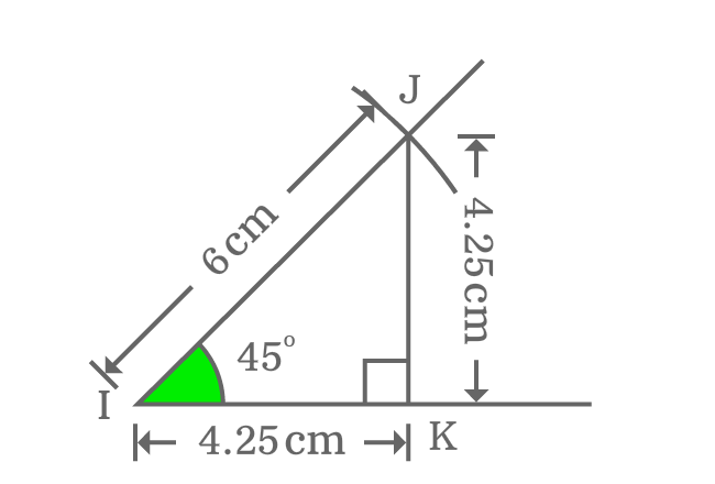 relation between sides of right triangle whose angle equals to 45 degrees