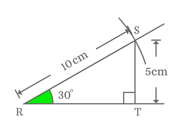 relation between opposite side and hypotenuse of right triangle whose angle equals to 30 degrees